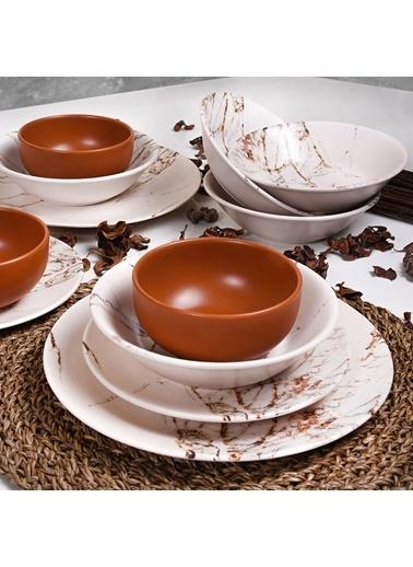 Keramika Keramika Kahverengi Mermer Yemek Takımı 24 Parça 6 Kişilik - 17802 Renkli